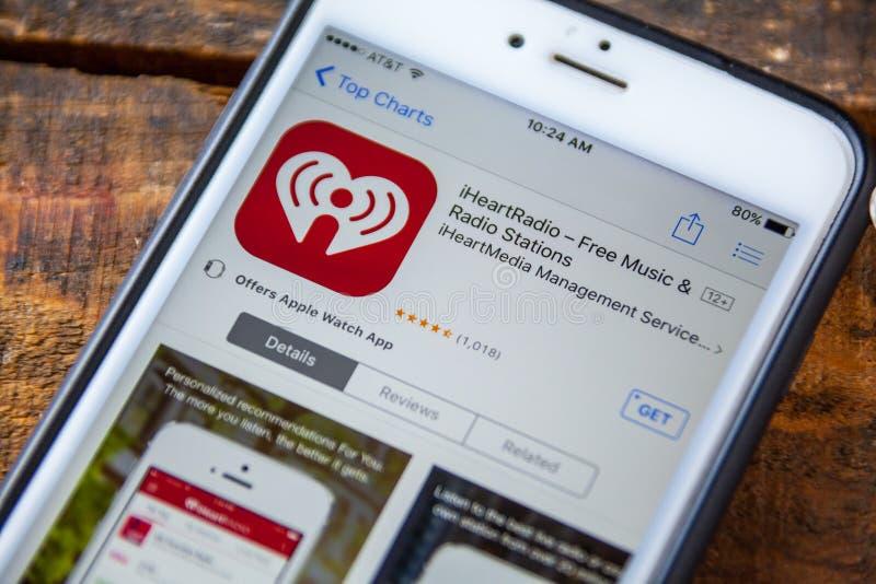 LAS VEGAS, nanovoltio - 22 de septiembre 2016 - iPhone App del iHeartRadio en T fotos de archivo