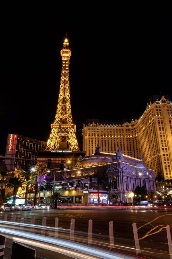 Las Vegas, nanovoltio, los E.E.U.U. 09032018: Opinión de la NOCHE de la tira con la mayor parte de los hoteles históricos, con el imágenes de archivo libres de regalías