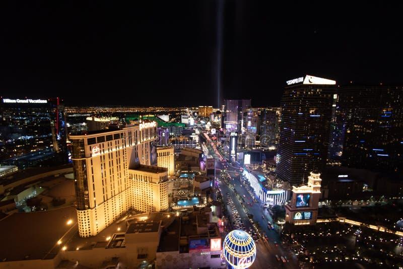 Las Vegas, nanovoltio, los E.E.U.U. 09032018: Opinión de la NOCHE de la tira con la mayor parte de los hoteles históricos, con el imagenes de archivo