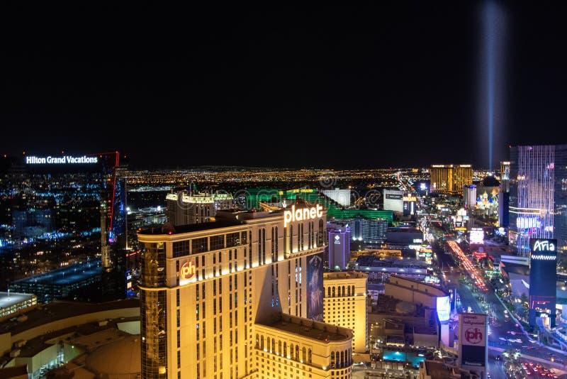 Las Vegas, nanovoltio, los E.E.U.U. 09032018: Opinión de la NOCHE de la tira con la mayor parte de los hoteles históricos, con el fotografía de archivo