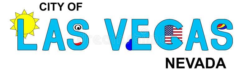 Las Vegas - Nevada, abstracte inschrijving in blauw royalty-vrije illustratie