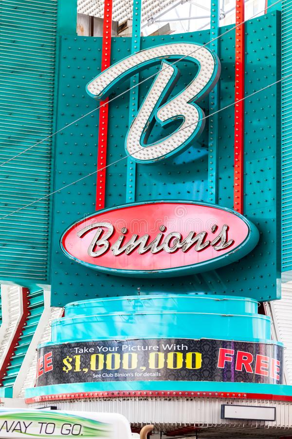 LAS VEGAS, NEVADA - 22 août 2016 : Le casino en fer à cheval de Binion photos stock