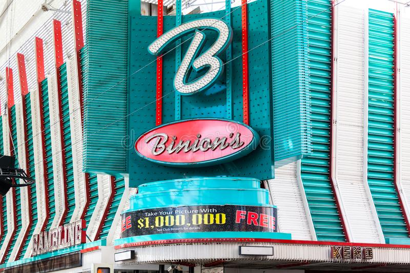 LAS VEGAS, NEVADA - August 22nd, 2016: Binion's Horseshoe Casino. On Fremont Street stock photo