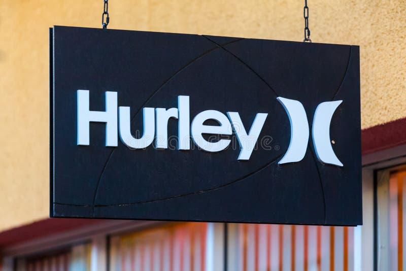 LAS VEGAS NEVADA - Augusti 22nd, 2016: Hurley Logo On Store Fron fotografering för bildbyråer