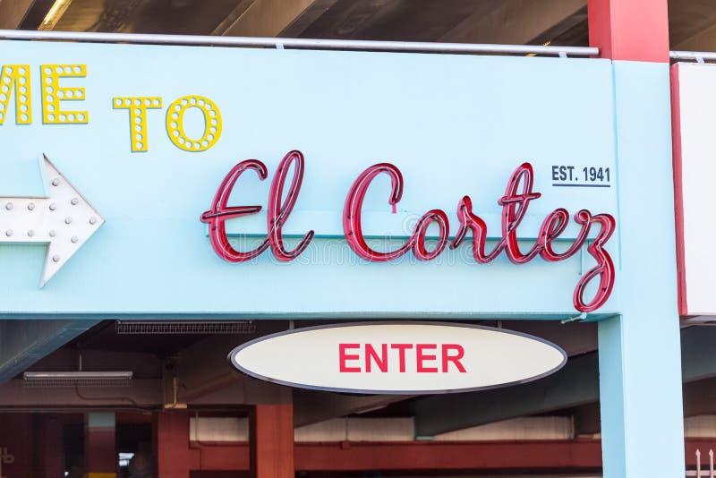 LAS VEGAS, NEVADA - 22 de agosto de 2016: EL Cortez Hotel Parking G fotografia de stock