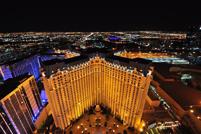 LAS VEGAS, NEVADA, DE V.S. - 22 APRIL, 2015: Aeralmening van het het hotel en casino van Parijs Las Vegas op 22 April, 2015 in La royalty-vrije stock fotografie
