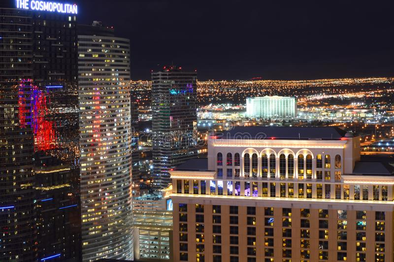 Las Vegas, Nevada, de V.S. - 23 Januari, 2016: De strook van Las Vegas bij nacht royalty-vrije stock afbeelding