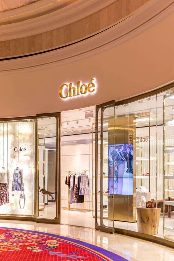 LAS VEGAS, NEVADA, DE V.S. - 13 MEI, 2019: Embleem van Chloe-opslag in Wynn-hotel in Las Vegas Chloe is internationale Fransen stock foto's