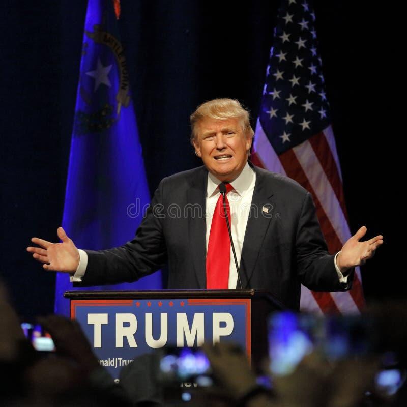LAS VEGAS NEVADA, 14 DECEMBER, 2015: De republikeinse presidentiële kandidaat Donald Trump spreekt bij campagnegebeurtenis in Wes stock fotografie