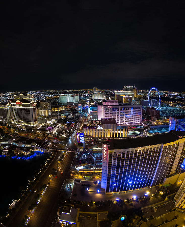 Las Vegas, Nevada. Las Vegas Nevada - December 16 : partial view of the world famous Las Vegas Strip, view from the top of the Eiffel Tower, December 16 2014 in stock images