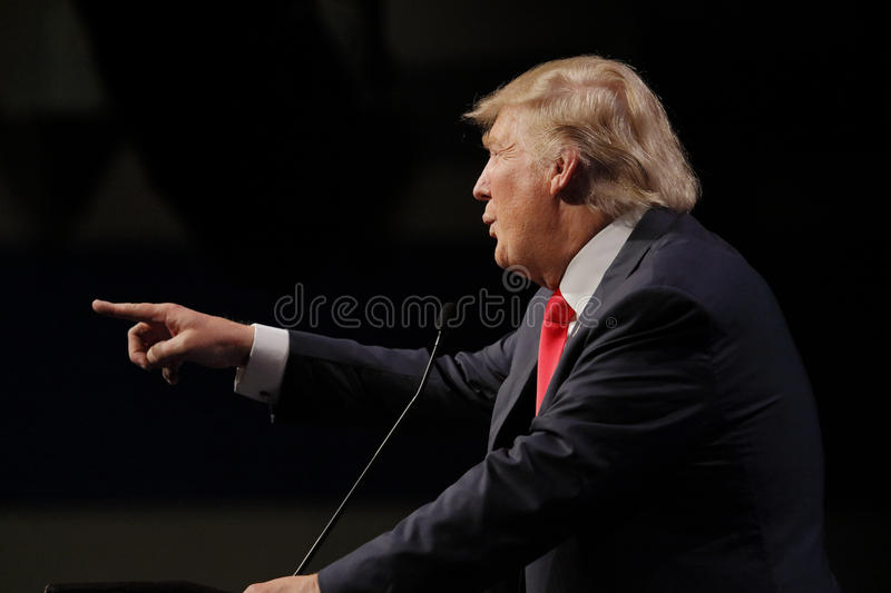LAS VEGAS NEVADA, DECEMBER 14, 2015: Republican presidential candidate Donald Trump points at campaign event at Westgate Las Vegas royalty free stock images