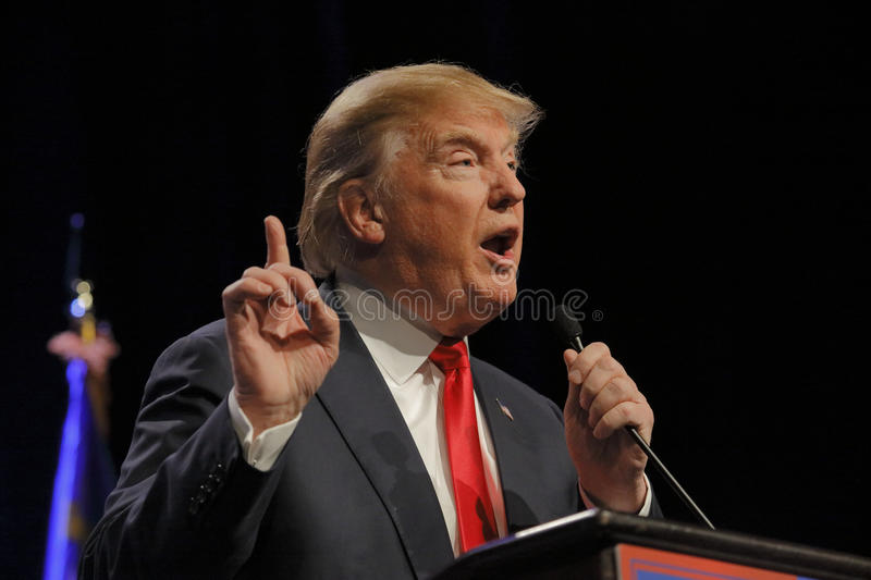 LAS VEGAS NEVADA, DECEMBER 14, 2015: Republican presidential candidate Donald Trump speaks at campaign event at Westgate Las Vegas royalty free stock image