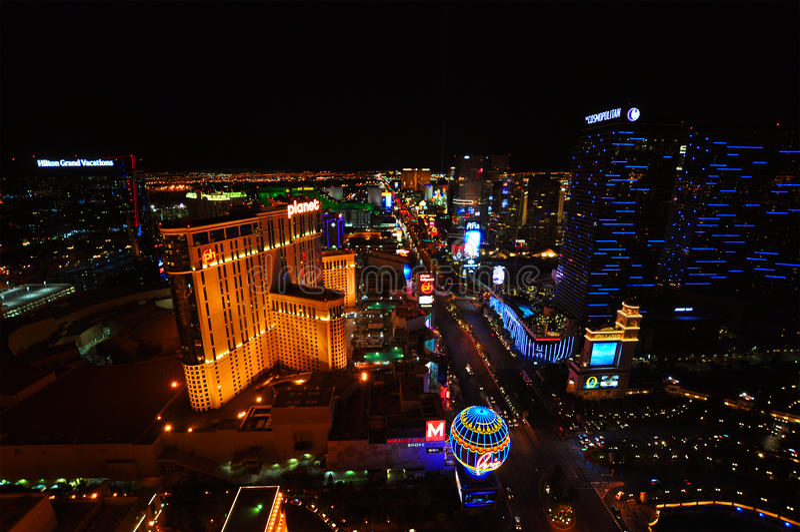 LAS VEGAS, NEVADA, ETATS-UNIS - 22 AVRIL 2015 : Vue aérienne de la bande, bout droit de 4 2 milles chez Las Vegas Boulevard images stock