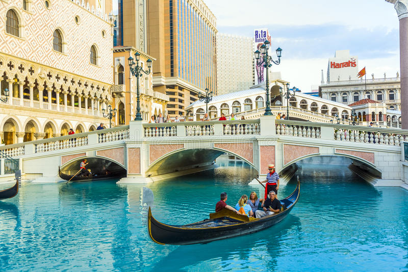 Reproduction of Venice/Italy in Las Vegas as part of the Venetian Resort Hotel stock image