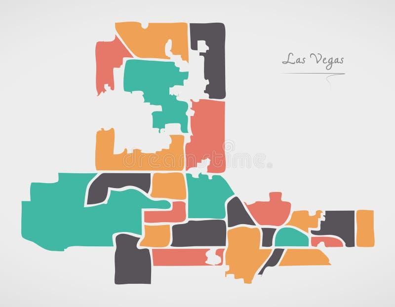 Las Vegas Nevada Map met buurten en moderne ronde vormen vector illustratie