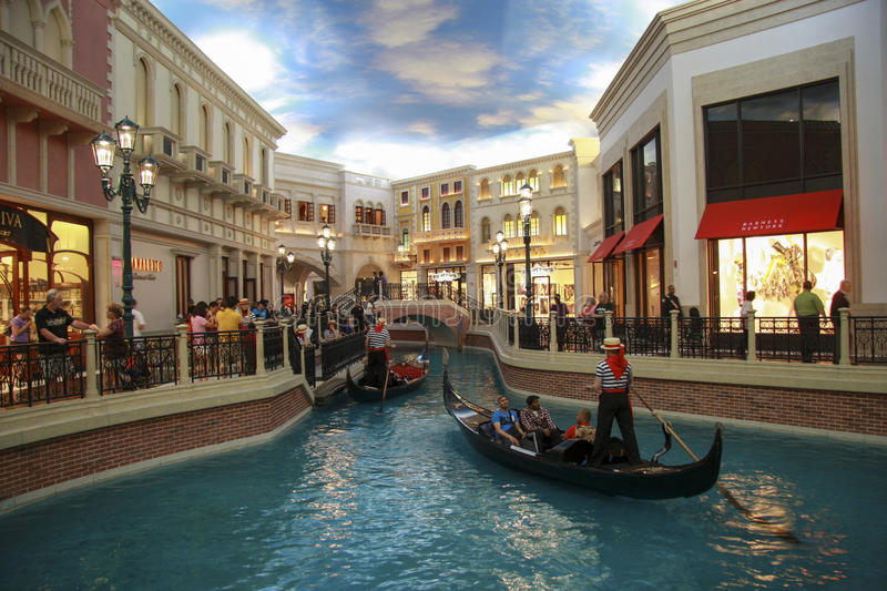 LAS VEGAS, NEVADA - MAY 4, 2009: Gondola trip indoors Venetian h stock photo