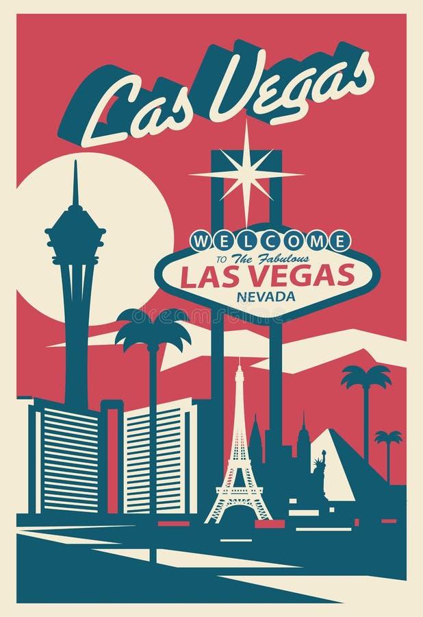 Las Vegas Nevada poscard stock illustratie