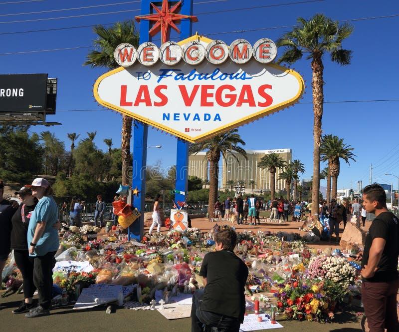 Las Vegas, Nevada: Sitio de luto después del tiroteo total 2017 fotos de archivo libres de regalías