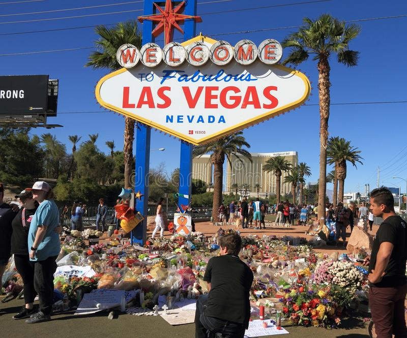Las Vegas, Nevada: Sito di dolore dopo fucilazione di massa 2017 fotografie stock libere da diritti