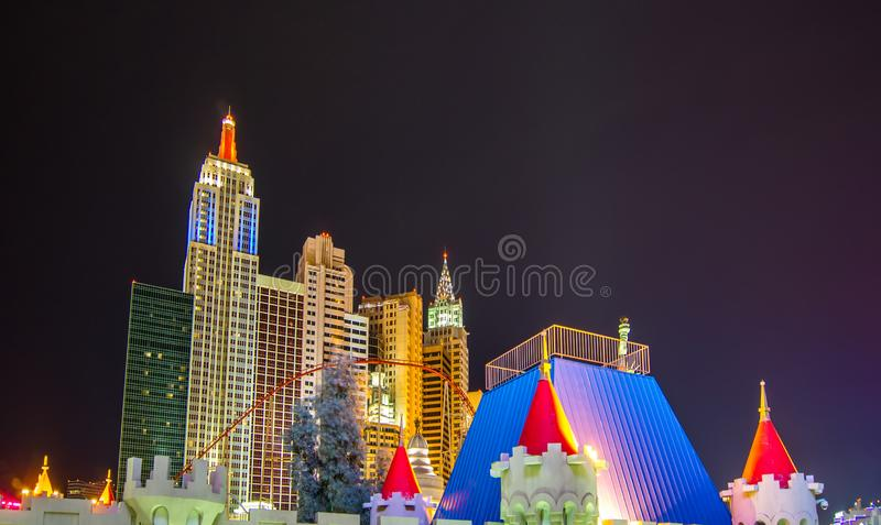Las vegas nevada strip and surroundings at night stock photos