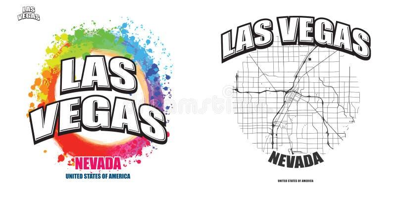 Las Vegas, Nevada, twee embleemkunstwerken stock illustratie