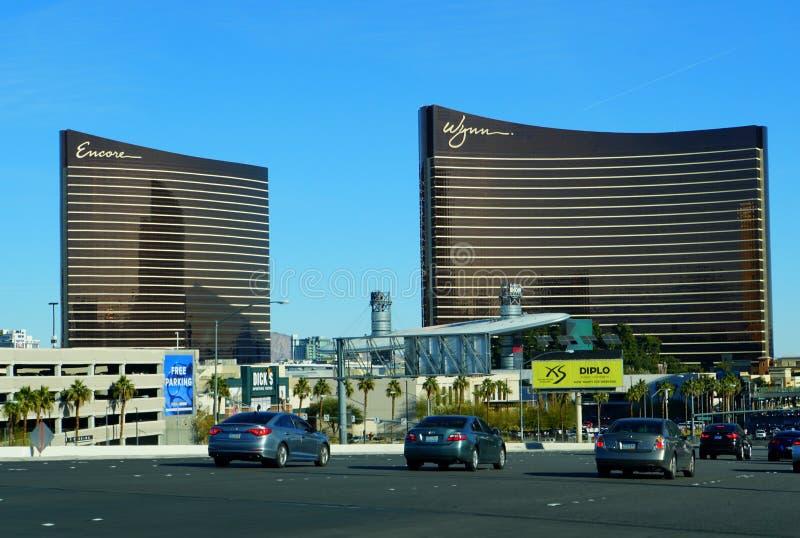 Las Vegas, Nevada, U.S.A - January 1, 2019 - The view of Wynn and Encore Hotel Casino on Las Vegas Boulevard royalty free stock photos