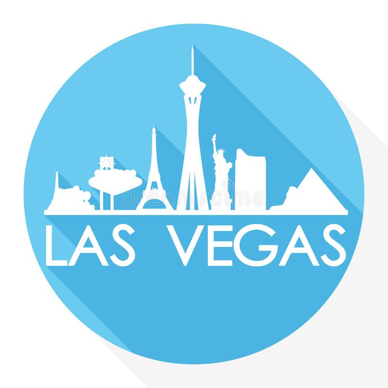 Las Vegas Nevada United States Of America de V.S. om van het de Stadssilhouet van Pictogram Vectorart flat shadow design skyline  stock illustratie