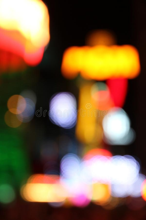 Las Vegas. Nevada, United States. Defocused city lights - colorful night view royalty free stock image