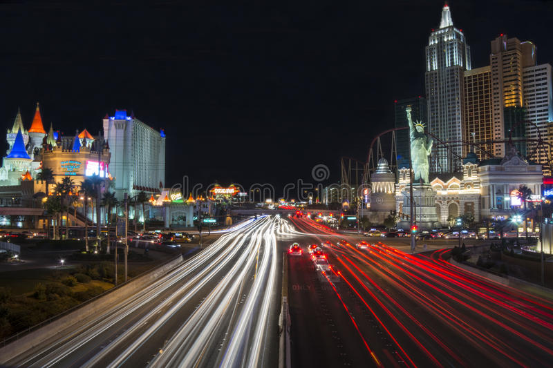 Las Vegas, Nevada, United States - January 2015: Car trails on the Strip in Las Vegas. USA royalty free stock images