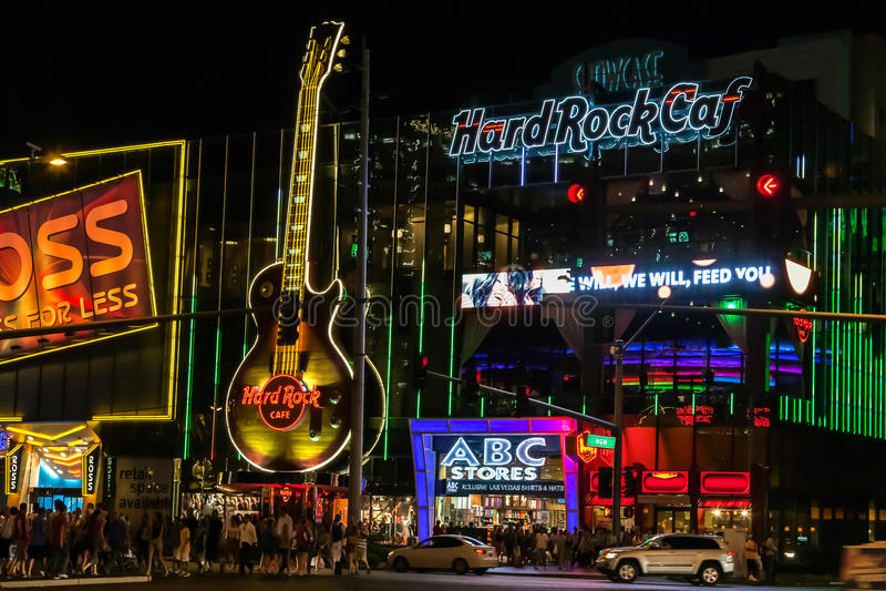 Las Vegas, NEVADA/USA - 2. August; Nachtszene entlang dem Streifen I stockbild