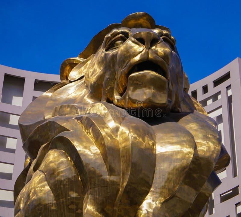 Las Vegas, Nevada/USA: 11 de mayo de 2018: Lion Statue en el hotel de Mgm Grand foto de archivo libre de regalías