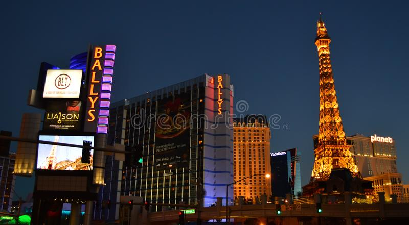 Las Vegas Nevada, USA - Januari 24, 2015: En del av den Las Vegas horisonten arkivfoton