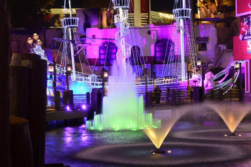 Las Vegas, Nevada, USA - January 23, 2016:Las Vegas, Nevada, USA - January 23, 2016: Water Fountain at Senior Frog Las Vegas. The Las Vegas Strip is a stretch of royalty free stock photos