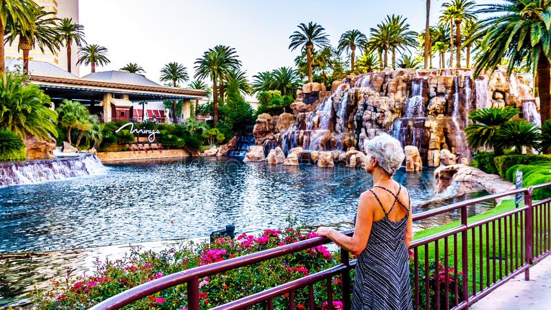 Woman looking at the Lagoon and Waterfalls at The Mirage Resort and Casino on Las Vegas Boulevard, also famously called The Strip stock photo