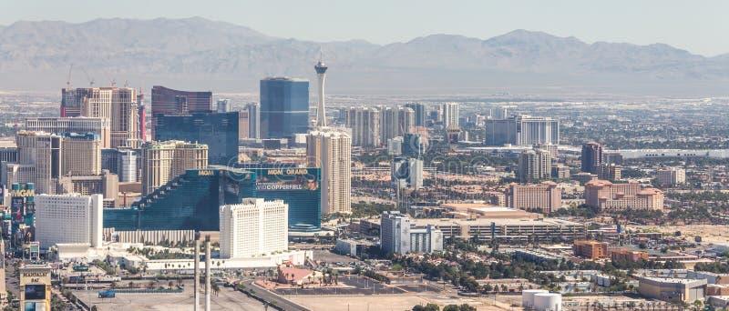 LAS VEGAS NEVADA, USA - 13 MAJ, 2019: Panorama av Las Vegas, Nevada, USA p? dagen arkivfoto