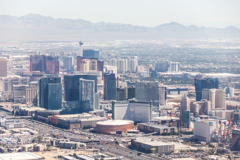 LAS VEGAS NEVADA, USA - 13 MAJ, 2019: Panorama av Las Vegas, Nevada, USA p? dagen arkivbild