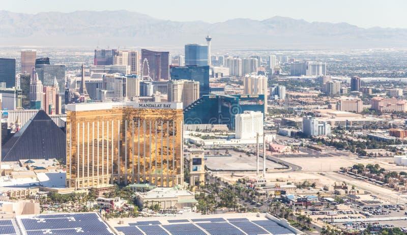 LAS VEGAS NEVADA, USA - 13 MAJ, 2019: Panorama av Las Vegas, Nevada, USA p? dagen royaltyfri fotografi