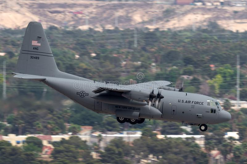United States Air Force USAF Lockheed C-130H Hercules from the 109th Airlift Wing, New York Air National Guard on approach to la. Las Vegas, Nevada, USA - May 8 stock image