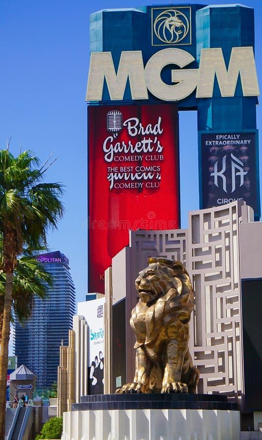 Las Vegas, Nevada/USA: 11 mei, 2018: Lion Statue bij het Grote Hotel van MGM royalty-vrije stock foto's