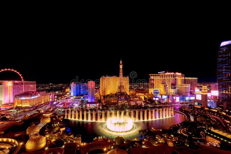 Las Vegas, Nevada, USA - October 31, 2019: Night view of Las Vegas Bellagio Hotel and Casino fountain and other hotels on Strip. View from Bellagio Hotel stock images