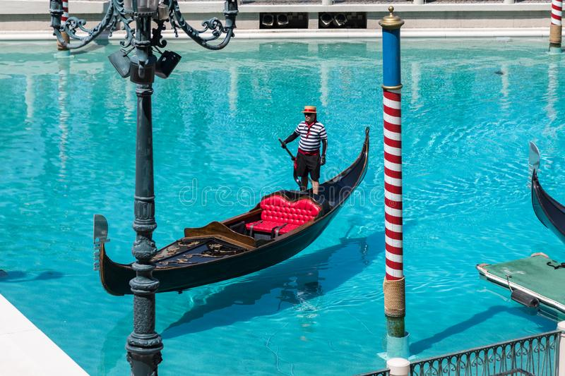 Las Vegas, Nevada, USA - September 1, 2017: The gondola at Grand Canal at The Venetian Resort Hotel and Casino. This luxury hotel stock photos