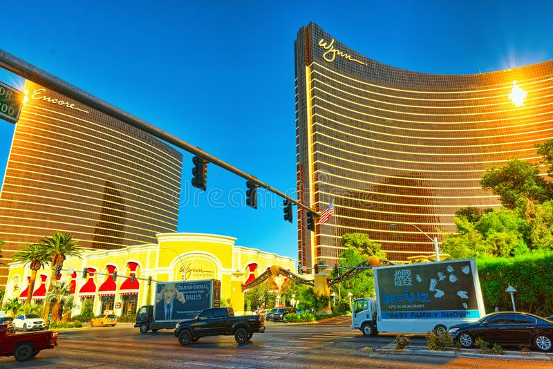 Main street of Las Vegas is the Strip. Casino, hotel and resort - Encore stock images