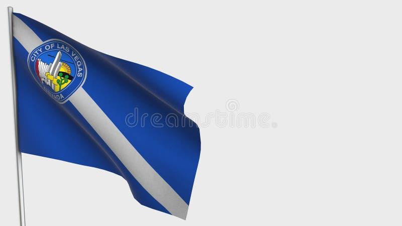Las Vegas Nevada waving flag illustration on flagpole. vector illustration