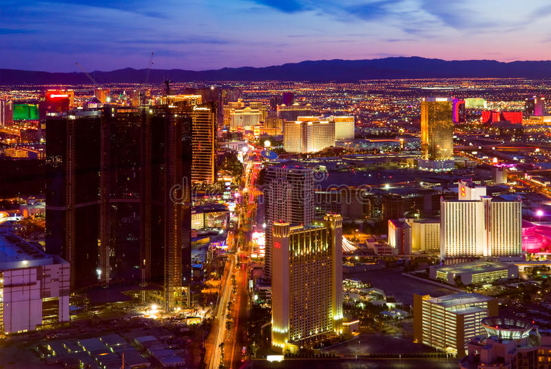 Las Vegas at night. LAS VEGAS - MARCH 31: An aerial view of Las Vegas strip on March 31, 2009. The strip is approximately 4.2 mi (6.8 km) long