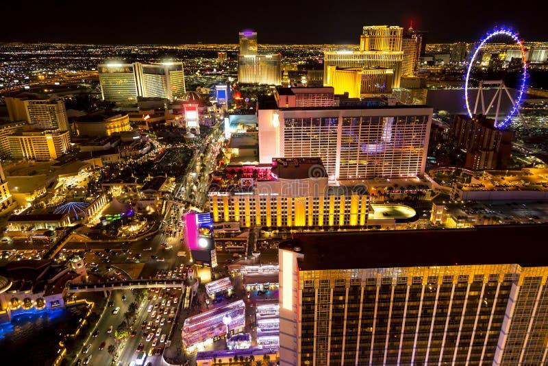 Las Vegas night. Hotels and strip boulevard of Las Vegas at night royalty free stock image