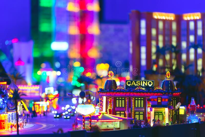 Las Vegas at night with illumiated casino and scyscrapers. Miniature city.  stock images