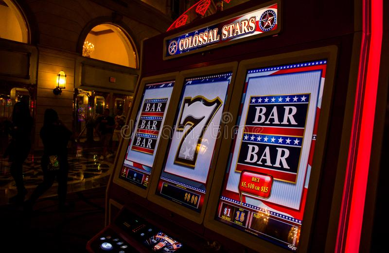 7 BAR WINS by Las Vegas casino. stock photo