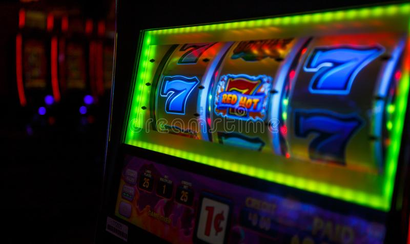 777 WINS by Las Vegas casino. stock photo