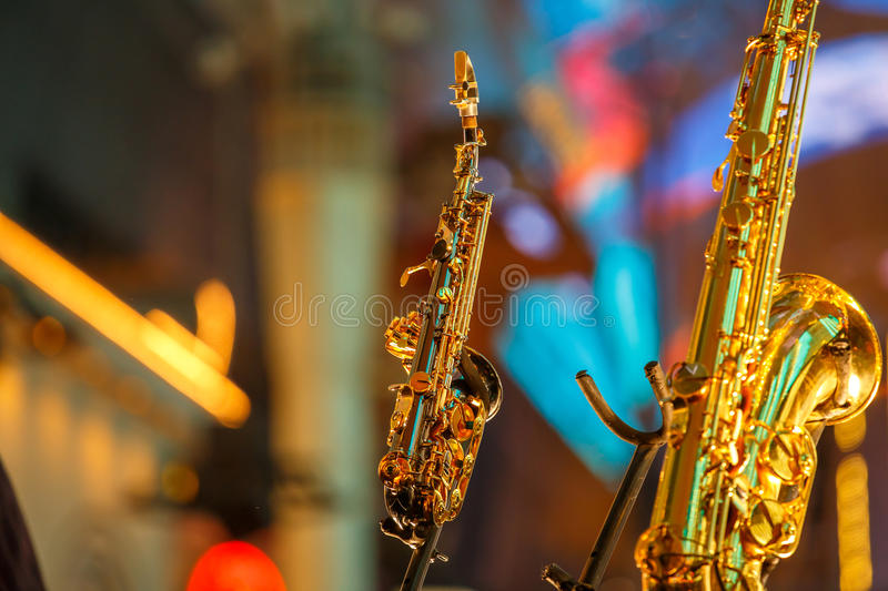 Las Vegas by night. Las Vegas night, long awaited by tourists from around the world. Saxophone on the Street. Casino Las Vegas Nevada royalty free stock photography