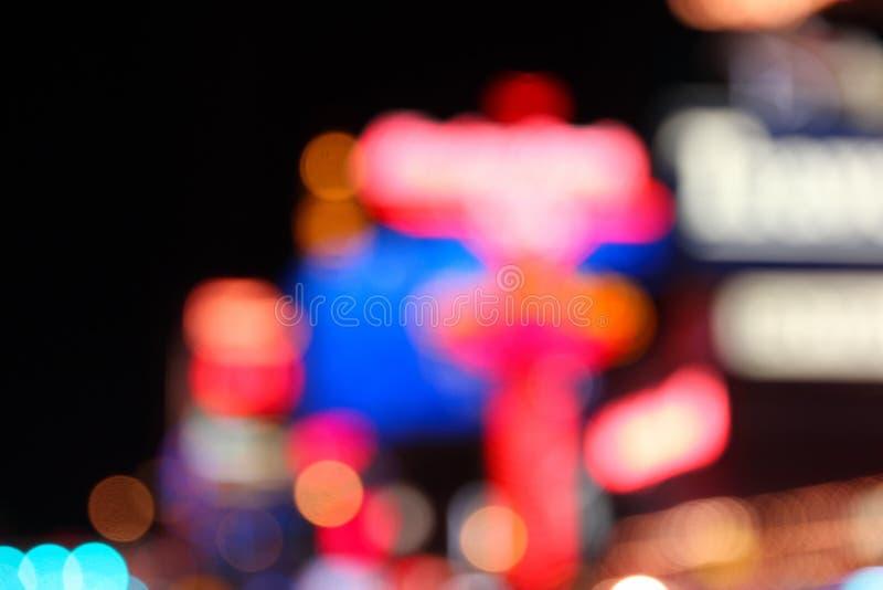 Las Vegas night. Las Vegas, Nevada, United States. Defocused city night lights - colorful evening view stock photos